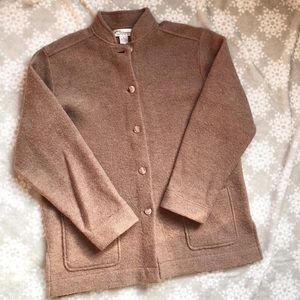 Norm Thompson Boiled Wool Brown Beige Jacket